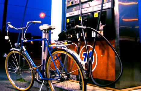 frugal-green-living-bike-gas-pump-save-money-photo